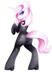 Size: 1280x1880 | Tagged: safe, artist:scarlet-spectrum, fleur-de-lis, pony, unicorn, bipedal, boots, catsuit, deviantart watermark, female, high heel boots, latex, latex suit, looking at you, mare, obtrusive watermark, plot, shoes, simple background, smiling, solo, stupid sexy fleur-de-lis, transparent background, watermark