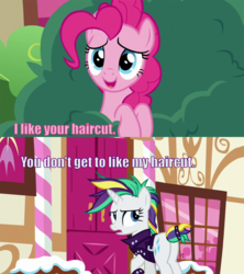 Size: 1600x1800 | Tagged: alternate hairstyle, caption, edit, edited screencap, editor:scrounge, image macro, it isn't the mane thing about you, pinkie pie, pony, punk, raripunk, rarity, safe, screencap, secrets and pies, spider-man: into the spider-verse