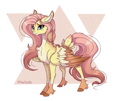 Size: 2208x1850 | Tagged: artist:marbola, chest fluff, colored wings, female, fluttershy, looking at you, mare, multicolored wings, pegasus, pony, redesign, safe, smiling, solo, tail feathers