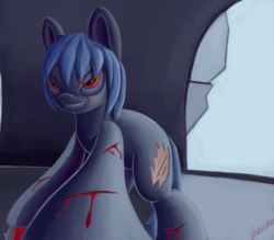 Size: 3000x2623 | Tagged: artist:theunconsistentone, bleeding, blood, broken glass, cuts, earth pony, evil grin, grin, oc, pony, revenge, safe, scar, smiling