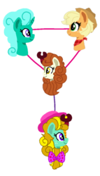 Size: 581x1013 | Tagged: applejack, applejack's hat, artist:徐詩珮, autumn blaze, autumnjack, cowboy hat, earth pony, family, family tree, female, glitterautumnjack, glitterblaze, glitter drops, glitterjack, hat, hybrid, interspecies offspring, kirin, kirin hybrid, lesbian, magical lesbian spawn, magical threesome spawn, next generation, oc, oc:matty apple, offspring, parent:applejack, parent:autumn blaze, parent:glitter drops, parents:autumnjack, parents:glitterautumnjack, parents:glitterblaze, parents:glitterjack, polyamory, pony, safe, shipping, sounds of silence, unicorn