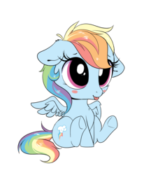Size: 1225x1487   Tagged: safe, artist:ravensunart, rainbow dash, pegasus, pony, :p, chibi, cute, dashabetes, female, hnnng, mare, silly, simple background, sitting, smol, solo, tongue out, transparent background, weapons-grade cute