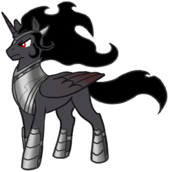 Size: 1578x1606 | Tagged: alicorn, alicornified, armor, artist:derangedhyena, covered cutie mark, edit, hidden cutie mark, king sombra, male, mysterious, pony, race swap, regal, safe, simple background, solo, sombracorn, stallion, tumblr, white background
