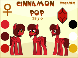 Size: 4000x3000 | Tagged: safe, artist:albatrosonset, oc, oc:cinnamon pop, pegasus, pony, female, reference sheet, solo