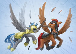 Size: 3508x2480 | Tagged: safe, artist:underpable, oc, oc only, oc:captain sunride, oc:cloud zapper, pegasus, pony, armor, commission, flying, helmet, male, mouth hold, royal guard, sparring, stallion, sword, training, weapon, wooden sword