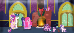 Size: 1280x581 | Tagged: alicorn, artist:starmelodyshineyt, christmas, family, female, fireplace, holiday, hug, lesbian, magical lesbian spawn, male, offspring, parent:pinkie pie, parent:princess cadance, parent:shining armor, parents:shiningcadance, parents:twinkie, parent:twilight sparkle, pinkie pie, princess cadance, princess flurry heart, safe, shining armor, shiningcadance, shipping, straight, twilight sparkle, twilight sparkle (alicorn), twinkie, winghug