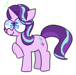 Size: 799x781 | Tagged: adorkable, artist:hobblt, big eyes, cute, dork, female, glimmerbetes, mare, pony, raised hoof, safe, smiling, solo, starlight glimmer, unicorn