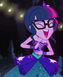 Size: 776x948 | Tagged: bare shoulders, blooper, cropped, crying, crystal gala, crystal gala dress, equestria girls, female, laughing, legend of everfree, legend of everfree - bloopers, reaction image, safe, sci-twi, screencap, sleeveless, solo, strapless, tears of laughter, twilight sparkle, xd