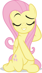 Size: 5583x9601 | Tagged: safe, artist:jhayarr23, fluttershy, pegasus, pony, equestria girls, equestria girls series, i'm on a yacht, spoiler:eqg series (season 2), absurd resolution, equestria girls ponified, eyes closed, female, hooves behind head, kneeling, mare, ponified, raised eyebrow, sassy, scene interpretation, simple background, smiling, smug, solo, transparent background, vector