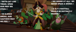 Size: 1536x644 | Tagged: safe, edit, edited screencap, screencap, boyle, captain celaeno, lix spittle, mullet (character), murdock, bird, parrot pirates, my little pony: the movie, amputee, cloud, ear piercing, earring, eyepatch, gilbert and sullivan, hat, hook, jewelry, ladle, life ring, lyrics, music notes, opera, peg leg, piercing, pirate, pirate ship, prosthetic leg, prosthetic limb, prosthetics, singing, song reference, squabble, stairs, sword, text, the pirates of penzance, time to be awesome, weapon, with cat-like tread