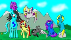 Size: 720x405 | Tagged: safe, artist:gamer-shy, oc, oc:amethyst starflower, oc:april lily, oc:gamershy yellowstar, oc:lapis, oc:lilah, oc:sira, oc:slurry, bat pony, earth pony, goo pony, merpony, original species, pegasus, undead, grass, grave, gravestone, group shot, mountain, scared, size difference, tazyl dragon, tree
