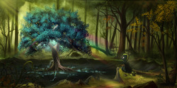 Size: 5000x2478 | Tagged: safe, artist:devinian, oc, oc only, oc:star bolt, pony, apple, apple tree, cape, clothes, commission, cracks, crepuscular rays, food, forest, glow, male, rainbow, scenery, scenery porn, sitting, smiling, solo, stallion, sword, tree, weapon, zap apple, zap apple tree