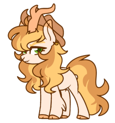 Size: 1212x1288 | Tagged: safe, artist:unicorn-mutual, oc, hybrid, kirin, hat, interspecies offspring, magical lesbian spawn, male, offspring, parent:applejack, parent:autumn blaze, parents:autumnjack, simple background, solo, transparent background