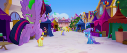 Size: 1920x804 | Tagged: alicorn, canterlot, dragon, dragons riding ponies, female, friendship festival, male, mare, my little pony: the movie, pony, riding, safe, screencap, spike, trixie, twilight sparkle, twilight sparkle (alicorn), unicorn