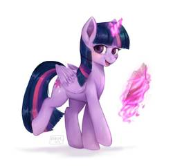 Size: 1464x1423   Tagged: safe, alternate version, artist:riukime, twilight sparkle, alicorn, pony, book, cute, female, glowing horn, looking at you, magic, mare, open mouth, simple background, solo, telekinesis, twiabetes, twilight sparkle (alicorn), walking, white background