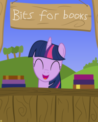 Size: 4000x5000 | Tagged: absurd res, artist:devfield, bits, book, bookhorse, bush, cute, eyes closed, happy, hill, pony, safe, show accurate, sign, sky, smiling, solo, stall, tree, twiabetes, twilight sparkle, vector, vendor, wood, yay