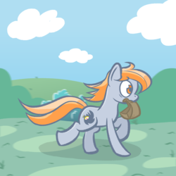 Size: 2560x2560 | Tagged: artist:phat_guy, derpibooru exclusive, earth pony, female, mare, motion blur, mouth hold, oc, oc:darkest hour, oc only, paper bag, pony, running, safe, solo