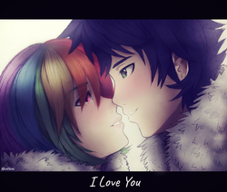Size: 1888x1600 | Tagged: safe, artist:nicohoshi, rainbow dash, soarin', human, anime, blushing, clothes, female, humanized, i love you, looking at each other, male, shipping, soarindash, straight