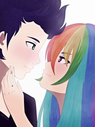 Size: 2995x4000 | Tagged: safe, artist:nicohoshi, rainbow dash, soarin', human, anime, blushing, female, humanized, looking at each other, male, shipping, simple background, smiling, soarindash, straight, white background
