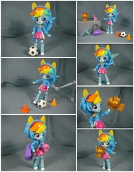 Size: 4678x5993   Tagged: safe, artist:krisanderson97, rainbow dash, equestria girls, absurd resolution, ball, doll, equestria girls minis, female, flag, irl, photo, pony ears, solo, toy, traffic cone, trophy, wondercolts uniform