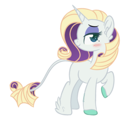 Size: 600x570 | Tagged: safe, artist:sinamuna, oc, oc only, oc:uptown chic, pony, unicorn, base used, beauty mark, blonde hair, blue eyes, blushing, colored hooves, curly hair, eyeshadow, feathered hooves, green eyes, leonine tail, makeup, nextgen:sinverse, not rarity, offspring, parent:rarity, parent:zephyr breeze, parents:raribreeze, purple hair, redesign, simple background, smiling, smug, transparent background