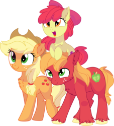 Size: 7597x8362 | Tagged: safe, artist:aureai-sketches, artist:cyanlightning, apple bloom, applejack, big macintosh, earth pony, pony, .svg available, absurd resolution, adorabloom, apple bloom riding big macintosh, apple family, big eyes, bow, brother and sister, cheek fluff, chest fluff, cute, ear fluff, family, female, filly, floppy ears, fluffy, freckles, hair bow, hat, jackabetes, leg fluff, looking up, macabetes, male, mare, missing accessory, open mouth, ponies riding ponies, pony hat, raised leg, riding, siblings, simple background, smiling, stallion, transparent background, unshorn fetlocks, vector
