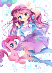 Size: 992x1403 | Tagged: anime, artist:スピカ, balloon, boots, clothes, cute, diapinkes, earth pony, equestria girls, female, human, humanized, human ponidox, looking at you, mare, moe, open mouth, pinkie pie, pony, safe, self ponidox, shirt, shoes, skirt, smiling, stars