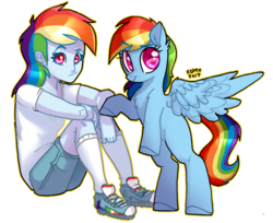 Size: 1280x1043 | Tagged: artist:sl0ne, bipedal, duo, equestria girls, female, looking at you, mare, pegasus, pony, rainbow dash, rearing, safe, self ponidox, simple background, sitting, smiling, spread wings, transparent background, wings