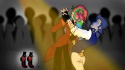 Size: 1280x720   Tagged: safe, artist:soarindashbestship, rainbow dash, soarin', human, clothes, dancing, female, fingerless gloves, gloves, goggles, humanized, male, shipping, soarindash, steampunk, straight, tiptoe, tumblr, vest