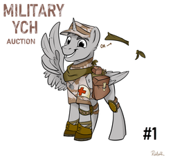 Size: 1200x1100 | Tagged: artist:rutkotka, auction, bandana, boots, camouflage, clothes, commission, dog tags, elbow pads, fantasy class, hat, knee pads, male, medic, military, military bronies, military pony, military uniform, pony, saddle bag, safe, satchel, shoes, short sleeves, simple background, smiling, soldier, stallion, uniform, warrior, white background, your character here