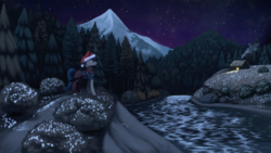 Size: 1920x1080 | Tagged: artist:mrscroup, christmas, equestria at war mod, forest, hat, holiday, house, mountain, night, oc, oc only, pony, river, safe, santa hat, scenery, solo, sword, weapon