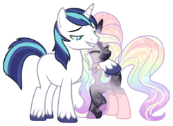 Size: 1441x1047 | Tagged: base used, canon x oc, couple, eyes closed, female, infidelity, infidelity armor, male, mare, oc, oc:storm gleam, pony, raised hoof, safe, shining armor, shipping, simple background, smiling, stallion, transparent background, unicorn