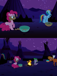 Size: 480x640 | Tagged: animation error, bowl, campfire, little strongheart, over a barrel, pinkie pie, pony, rainbow dash, safe, screencap, spike