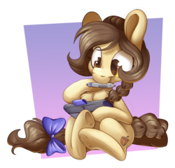 Size: 5423x5209 | Tagged: artist:cutepencilcase, bow, braid, chest fluff, commission, drawing, drawing tablet, oc, safe, tail bow, underhoof