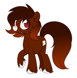 Size: 600x607 | Tagged: artist:sinamuna, blushing, brown fur, brown mane, earth pony, female, freckles, gift art, gradient mane, mare, oc, oc:java, oc only, pony, red eyes, safe, simple background, smiling, solo, transparent background, unshorn fetlocks