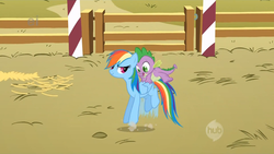 Size: 1920x1080 | Tagged: fall weather friends, hub logo, pony, rainbow dash, safe, screencap, spike