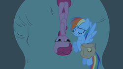 Size: 1280x720 | Tagged: eyes closed, party of one, pinkie pie, pony, rainbow dash, saddle bag, safe, screencap