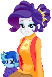 Size: 841x1227 | Tagged: safe, artist:rosemile mulberry, rarity, oc, oc:sparkling sapphire, human, series:sciset diary, equestria girls, baby, clothes, female, humanized, humanized oc, magical lesbian spawn, offspring, parent:sci-twi, parent:sunset shimmer, parents:scitwishimmer, simple background, smiling, white background