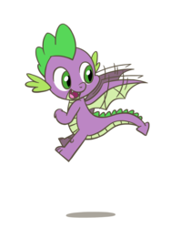 Size: 1350x1800 | Tagged: safe, artist:flutterluv, spike, dragon, dragon wings, flying, looking back, male, simple background, smiling, solo, spike day, spread wings, transparent background, winged spike, wings