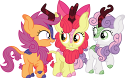 Size: 1925x1200 | Tagged: safe, artist:cloudyglow, apple bloom, scootaloo, sweetie belle, kirin, sounds of silence, adorabloom, bow, cloven hooves, colored hooves, curved horn, cute, cutealoo, cutie mark crusaders, cutie mark cuties, diasweetes, eye contact, female, filly, grin, hair bow, horn, kirin-ified, kirinbetes, leg fluff, leonine tail, looking at each other, looking back, raised hoof, scales, show accurate, simple background, smiling, species swap, squee, transparent background, trio, vector