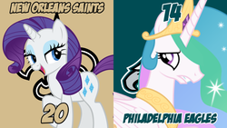 Size: 1920x1080 | Tagged: american football, artist:andoanimalia, artist:asurroca, new orleans saints, nfc divisional round, nfl, nfl divisional round, nfl playoffs, philadelphia eagles, princess celestia, rarity, safe, sports, vector