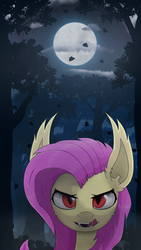 Size: 1080x1920   Tagged: safe, artist:probaldr, fluttershy, bat pony, pony, bat ponified, bust, drool, fangs, female, flutterbat, forest, frown, full moon, licking, licking lips, looking at you, mare, moon, night, open mouth, outdoors, race swap, red eyes, slit eyes, solo, tongue out