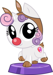 Size: 2436x3436 | Tagged: safe, artist:phucknuckl, sweetie belle, pony, my little pocket ponies, animal costume, clothes, costume, cute, diasweetes, female, pocket ponies, red nose, reindeer costume, simple background, sleigh bell sweetie belle, sleigh belle, solo, transparent background, vector