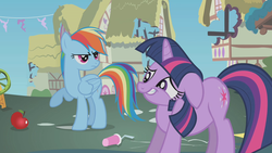 Size: 1280x720 | Tagged: apple, floppy ears, food, rainbow dash, rainbow dash is not amused, safe, screencap, sheepish grin, swarm of the century, twilight sparkle, unamused