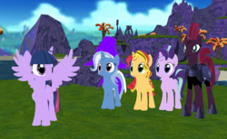 Size: 1300x800 | Tagged: 3d, alicorn, artist:supersmashcynderlum, broken horn, counterparts, female, horn, mmd, pony, safe, spongebob squarepants, starlight glimmer, sunset shimmer, tempest shadow, trixie, twilight's counterparts, twilight sparkle, twilight sparkle (alicorn), unicorn
