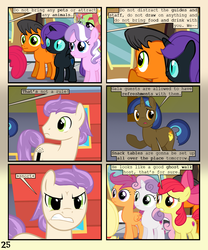Size: 900x1080 | Tagged: safe, artist:lister-of-smeg, apple bloom, diamond tiara, scootaloo, sweetie belle, tree hugger, oc, oc:jumping bean, oc:lazybug, oc:nyx, oc:trailblazer (lister-of-smeg), alicorn, earth pony, pony, unicorn, comic:horkosworks, angry, colt, cutie mark crusaders, male, stallion