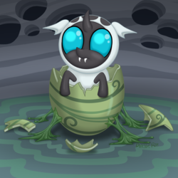 Size: 2100x2100   Tagged: safe, artist:plaguerat, oc, oc only, changeling, changeling larva, fanfic:to be a changeling, changeling egg, changeling hive, changeling oc, changeling slime, cute, cuteling, egg, fanfic, fanfic art, fanfic cover, fangs, frown, hatching, holes, larva, leaning, looking at you, looking up, slime, solo