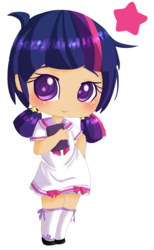 Size: 842x1369 | Tagged: alternate hairstyle, artist:puffleduck, blushing, book, chibi, clothes, colored pupils, cute, human, humanized, partial nudity, pigtails, safe, simple background, socks, solo, stars, transparent background, twiabetes, twilight sparkle