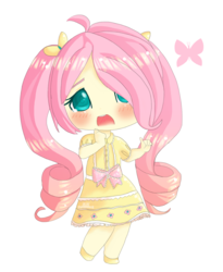 Size: 1000x1220 | Tagged: alternate hairstyle, artist:puffleduck, blushing, bow, butterfly, chibi, clothes, colored pupils, cute, dress, female, fluttershy, hair over one eye, human, humanized, open mouth, pigtails, safe, shyabetes, simple background, solo, transparent background