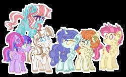 Size: 2416x1480 | Tagged: safe, artist:kurosawakuro, oc, oc only, earth pony, pegasus, pony, unicorn, alternate timeline, alternate universe, ascot, base used, cheek fluff, chest fluff, ear fluff, female, freckles, glasses, offspring, outline, parent swap au, parent:bow hothoof, parent:bright mac, parent:cloudy quartz, parent:cookie crumbles, parent:gentle breeze, parent:hondo flanks, parent:igneous rock, parent:night light, parent:pear butter, parent:posey shy, parent:twilight velvet, parent:windy whistles, parents:brightquartz, parents:cookiehoof, parents:pearlight, parents:poseyrock, parents:velvetflanks, parents:windybreeze, simple background, transparent background, unshorn fetlocks